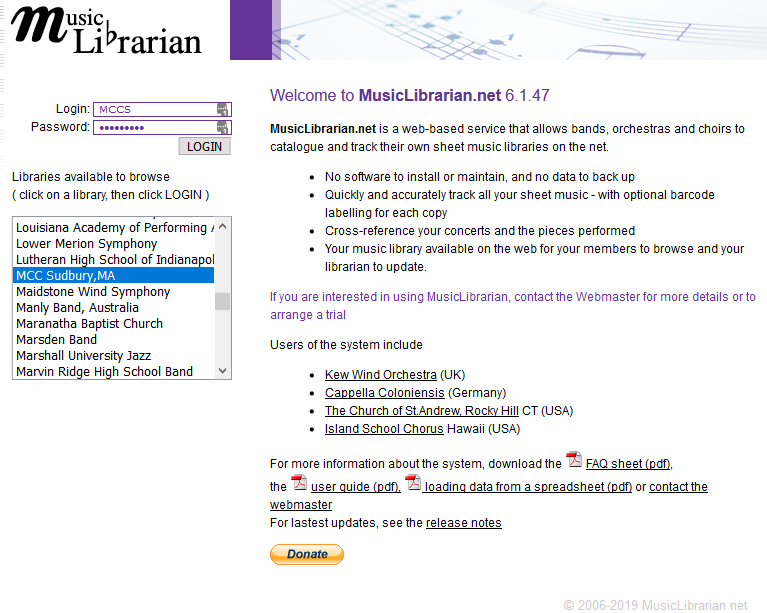 MusicLibrarian.net screenshot